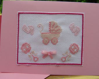 Pink embroidered card with envelope