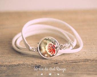 Bracelet double strand white faux leather, Cabochon Flower Pink retro brown tones