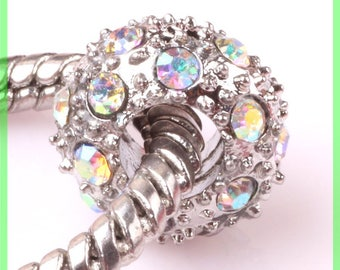 Pearl European N103 rhinestone spacer for bracelet charms