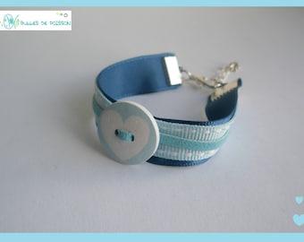 """Child bracelet """"small heart button"""" blue for girl"""