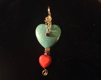 2Hearts with Dangle Turquoise  Pendant
