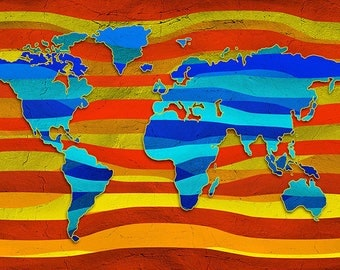 SEMI-rigid PLACEMAT, ORIGINAL design, WASHABLE and durable - world map art 5.