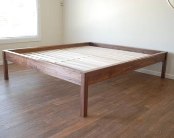platform bed in walnut simple bed frame hardwood twin full queen