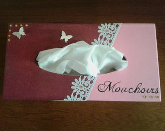 Lace, rhinestones and butterflies tissue box