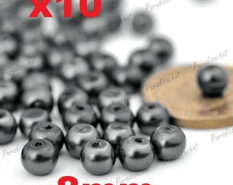 10 beads glass Pearl 8mm gray colors ref5