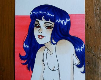 Drawing Original - woman with blue hair A6 Format