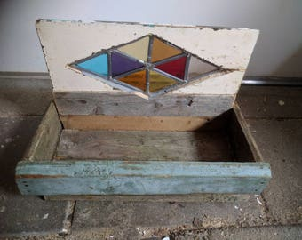 dish of recycle wood and stained glass
