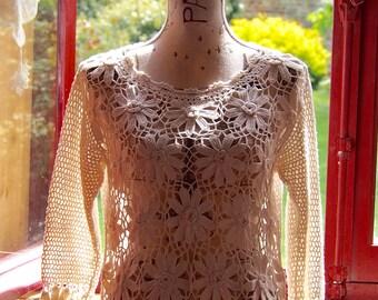 Ecru white crochet Lace Sweater