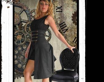 Hypocrite.: dress black Steampunk side bustles