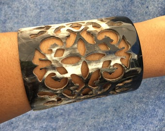 Women's Exquisitely Carved Horn Cuff Bracelet