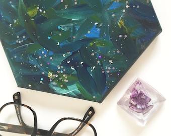 Original Acrylic Hexagon Green & Blue Canvas