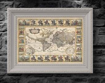 1652 Old, Rare and Vintage World Map by Nicolaes Visscher - Nova Totius Terrarum Orbis geographica ac hydrographica tabula - Replica