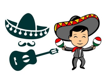 Mariachi Band Mexico Mexican Hat Cuttable Design SVG PNG DXF & eps Designs Cameo File Silhouette