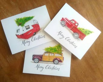 Christmas Cards, Christmas Card Set, Set of 12, Vintage Print Cards, Finding the Right Tree, Little Red Truck, Christmas Tree Cards