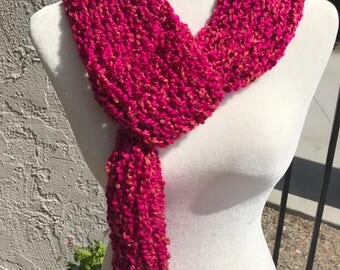 Handmade Knitted Scarf w/loop - Item #2006