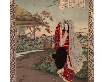 Hotoke Gozen becomes a nun (Inoue Yasuji) N.1 ukiyo-e woodblock print