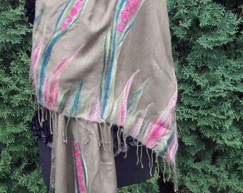needle felted womens schawl, scarf, poncho, wrap