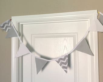 White and Gray Chevron Bunting