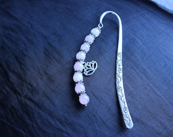 rose quartz gemstone flower bookmark