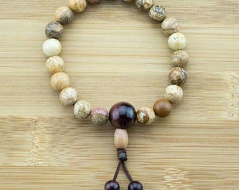 Wood Jasper Wrist Mala Bracelet with Red Tigers Eye | 8mm | Yoga Jewelry | Meditation Bracelet | Buddhist Mala Bracelet | Free Shipping