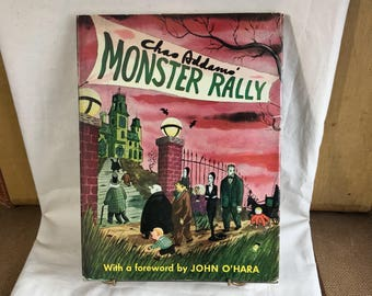 Chas Charles ADDAMS FAMILY Monster Rally HCDJ Adams Vintage Picture Book Horror Comedy New Yorker Cartoons Prints Illus Classic 60s tv Shows