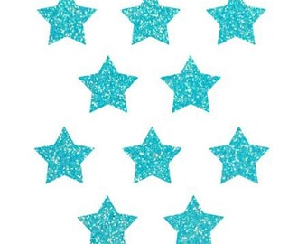 10 stars hot-melt neon blue glitter 15x15mm
