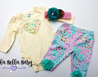 Baby 3 piece set including Leggings, Onesie and headband, Baby Outfit, Baby Dress, Baby Leggings, Baby Onesie, Baby Pants, Baby Headband