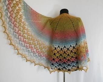 Shawl knitted scarf and wrap. Shawl is made 100% wool.