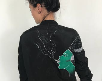 hand painted bomber jacket