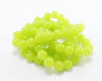 20 Lime Green glass beads approximately 10mm for creations