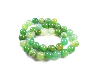 5 natural Agate beads 10mm Green