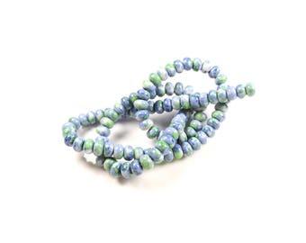 20 beads abacus in ocean blue jade - green 6 x 4mm