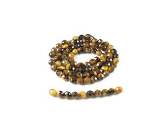 20 faceted beads 4mm LBP00536 natural Tiger eye