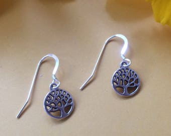 Stirling silver and antique silver Tree of Life earrings