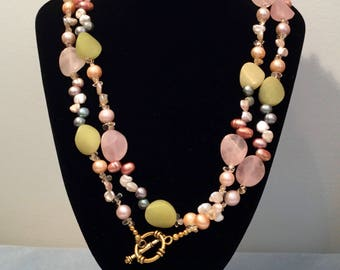 Freshwater pearl and agate necklace with antiqued gold tone toggle clasp.