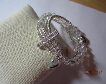 Crystal pave cross wrap bracelet