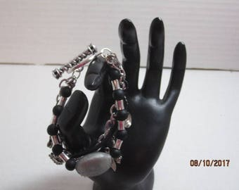 Silver-Tone, Black, and Gray Bracelet with Toggle clasp