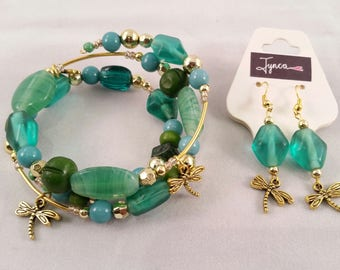 Green Dragonfly Bracelet and Earrings Set