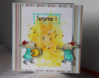"square format ""surprise"" musicians birthday card"
