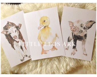 A4 Nursery set of 3 baby farm animals watercolour watercolor painting A4 prints piglet ducking cow calf