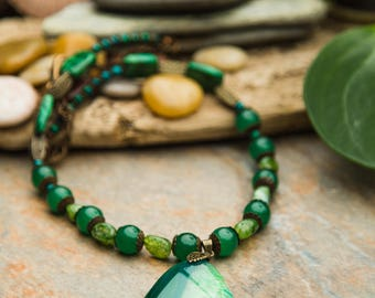 Necklace Agate, Aventurine, mosaic, Moss, Chrysocolla, all natural Agate gemstones