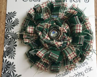 Green and white plaid fabric shabby chic flower with rosette and clear center