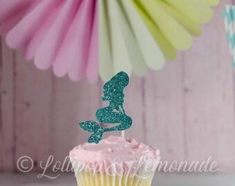 Mermaid tail cupcake topper, glitter cardstock, qty 12, 1 dozen
