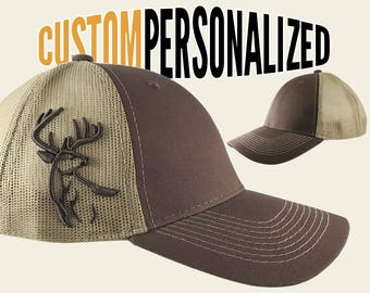 Custom Personalized White Tail Deer 3D Puff Embroidery on Adjustable Full Fit Brown Trucker Cap with Your Choice of Front Decors Hunting Hat
