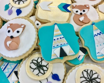 Baby Shower Woodland / Native Toppers Cupcake / Cookie toppers