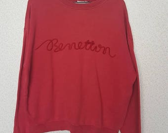 Rare !! Vintage United Colour of BENETTON big logo spellout sweatshirt