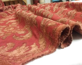 Chenille fabric Brown/Burgundy Brocade