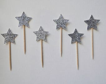 Silver Star Cupcake Toppers - Silver Cupcake Toppers