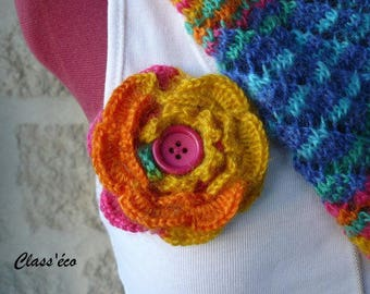 brooch flower crocheted with multicolored yarn