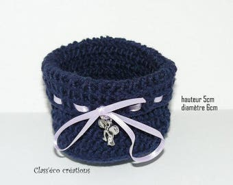 basket is woven basket crocheted in cotton Blue Navy